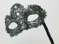 Black and Silver Brocade Stick Mask